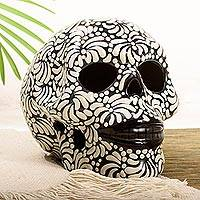 Ceramic figurine, 'Black and Ivory Lace Skull' - Handcrafted Talavera Style Black-Ivory Ceramic Skull