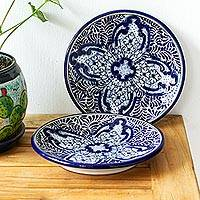 Ceramic luncheon plates, 'Puebla Kaleidoscope' (pair) - 2 Blue and White Talavera Style Ceramic Luncheon Plates