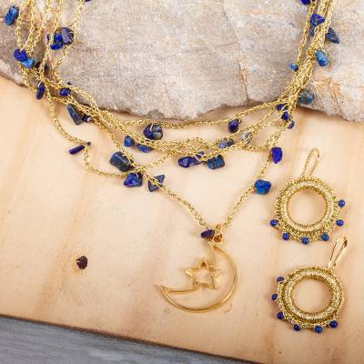 Gold plated lapis lazuli jewelry set, 'Celestial Blue' - Gold Plated Crocheted Jewelry Set with Lapis Lazuli