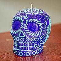 Hand-painted candle, 'Colorful Purple and Aqua Skull' - Mexican Purple and Aqua Day of the Dead Skull Candle