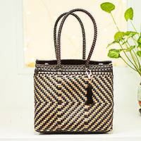 Handwoven tote, 'Movie Ahead' - Handwoven Black & Gold Vinyl Twill Tote from Mexico