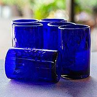 Blown glass tumblers, 'Paloma Azul' (set of 6) - Etched Blue Blown Glass Tumblers (Set of 6)