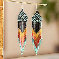Long beaded waterfall earrings, 'Huichol Chevron in Black' - Extra Long Beaded Huichol-Style Earrings