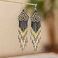 Long beaded waterfall earrings, 'Huichol Chevron in Gold' - Beaded Long Dangle Earrings from Mexico