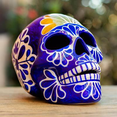 Ceramic sculpture, 'Cobalt Calavera' - Blue and White Hand Painted Skull Sculpture