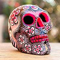 Ceramic sculpture, 'Eternal Beauty' - Pink and Black Ceramic Skull Sculpture