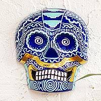 Ceramic mask, 'Aztec Blue and Gold' - Hand Crafted Blue and Gold Skull Mask