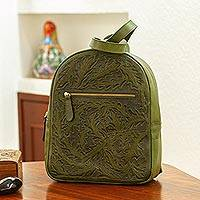 Tooled leather backpack, 'Falling Leaves in Olive' - Hand Tooled Olive Leather Backpack