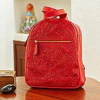 Tooled leather backpack, 'Falling Leaves in Red' - Bright Red Tooled Leather Backpack