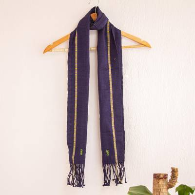 Cotton scarf, 'Ancient Continuity' - Dark Blue Fringed Cotton Scarf