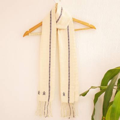 Cotton scarf, 'Ancient Integrity' - Ivory and Blue Hand Loomed Cotton Scarf