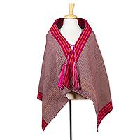 Cotton capelet, 'Bold Aubergine' - Hand Loomed Purple Shawl with Ties