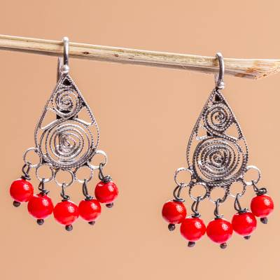 Sterling silver filigree chandelier earrings, 'Regal Tradition' - Red Crystal and Sterling Silver Filigree Earrings