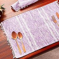 Cotton placemats, 'Inspiration in Lavender' (set of 4) - Lavender and White Cotton Placemats (Set of 4)