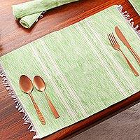 Cotton placemats, 'Inspiration in Kiwi' (set of 4) - Hand Woven Cotton Placemats in Green and White (Set of 4)