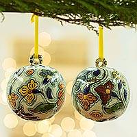 Ceramic ornaments, 'Talavera Joy' (pair) - Hand Crafted Ceramic Talavera-Style Ornaments (Pair)