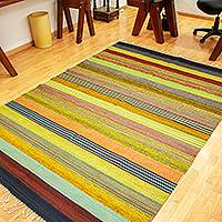 Wool area rug, 'Natural Way' (5.5x8) - Large Hand Woven Wool Area Rug (5.5x8)