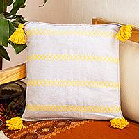 Cotton cushion cover, 'Grey and Yellow Brocade Bands' - Handwoven Grey Cotton Cushion Cover with Yellow Brocade