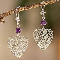 Sterling silver filigree dangle earrings, 'Ethereal Harmony' - Sterling Silver Filigree Dangle Earrings with Amethyst
