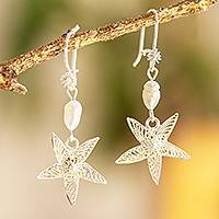 Cultured pearl filigree dangle earrings, 'Jasmine Stars' - Sterling Silver Filigree and Cultured Pearl Dangle Earrings