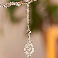 Sterling silver filigree pendant necklace, 'Conch Communication' - Sterling Silver Filigree Pendant Necklace from Mexico