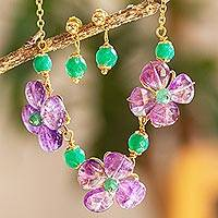 Gold-plated amethyst and agate jewelry set, 'Violet Patch' - Amethyst Flower Necklace and Earrings Set