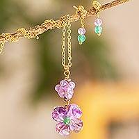 Gold-plated amethyst and agate jewelry set, 'Violet Garden' - Floral Jewelry Set with Amethyst and Agate