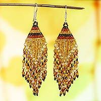 Glass beaded waterfall earrings, 'Golden Brown Luxury' - Huichol Golden Brown Beadwork Waterfall Earrings