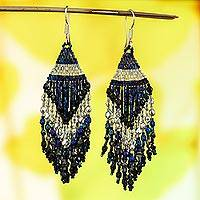 Glass beaded waterfall earrings, 'Iridescent Luxury' - Huichol Handcrafted Iridescent Beadwork Waterfall Earrings