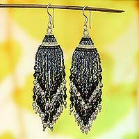 Glass beaded waterfall earrings, 'Silver Grey Luxury' - Huichol Silver Grey & Black Beadwork Waterfall Earrings