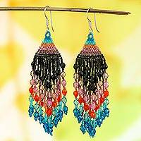 Glass beaded waterfall earrings, 'Colorful Luxury' - Huichol Handcrafted Colorful Beadwork Waterfall Earrings