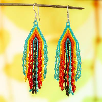 Glass beaded waterfall earrings, 'Aqua and Tangerine Rivers' - Huichol Aqua-Tangerine-Yellow Beadwork Waterfall Earrings