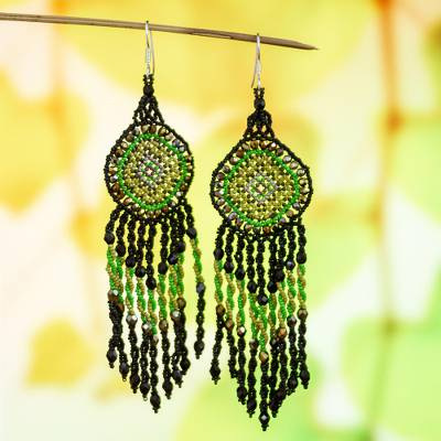 Glass beaded long statement earrings, 'Green Huichol Dreamcatcher' - Huichol Beadwork Black and Green Statement Earrings
