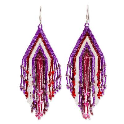 Glass beaded waterfall earrings, Purple Chic Cascade