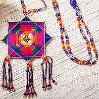 Glass beaded pendant necklace, 'Lilac Huichol Mandala' - Huichol Handcrafted Lilac Mandala Pendant Necklace