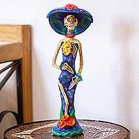 Ceramic statuette, 'Beauty Immortal in Blue' - Hand Painted Catrina Sculpture in Ceramic