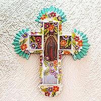 Metal wall cross, 'Blessed Virgin' - Blessed Virgin Tin and Glass Wall Cross Art