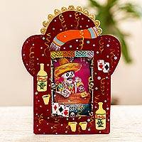 Tin plaque, 'Lottery Card Skeleton' - Handcrafted Lottery Card Motif Tin Plaque or Photo Frame