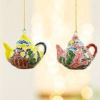 Ceramic ornaments, 'Time for Tea' (pair) - Two Handcrafted Ceramic Teapot Ornaments from Mexico