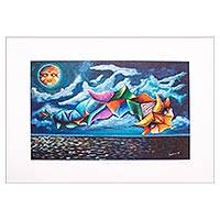 Giclee print, 'Serpent of the Sea' - Fanciful Mexican Vibora de la Mar Giclee Print on Canvas
