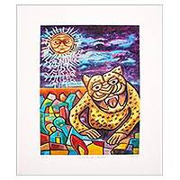 Giclee on canvas, 'Night of the Tecuan' - Signed Giclee on Canvas of Surreal Painting