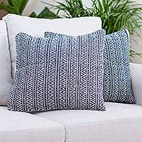 Wool and cotton cushion covers, 'Navy Pyramids' (pair) - 2 Handwoven Wool Navy & Ivory Geometric Motif Cushion Covers