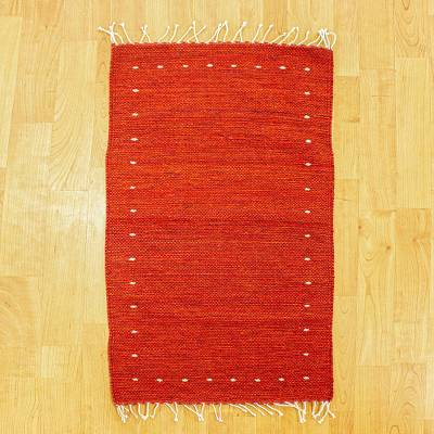 Wool area rug, 'Eternal Flame' (2x3) - Hand Woven Red Wool Area Rug (2x3)