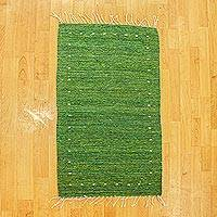 Wool area rug, 'Green Valley' (2x3) - Fringed Green Wool Area Rug (2x3)