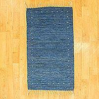 Wool area rug, 'Blue Sea' (2x3) - Hand Crafted Blue Wool Rug (2x3)