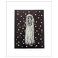 Linoleum block print, 'Long Hair Mask' - Mexican Folk Art Lino Block Print