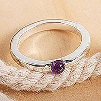 Amethyst solitaire ring, 'Vantage Point' - Handmade Amethyst Single-Stone Ring
