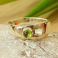 Peridot single-stone ring, 'On Lock' - Lock Motif Peridot Single-Stone Ring