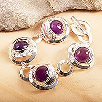 Amethyst link bracelet, 'Double Window' - Sterling Silver and Amethyst Bracelet