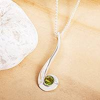 Peridot pendant necklace, 'Embrace' - August Birthstone Pendant Necklace